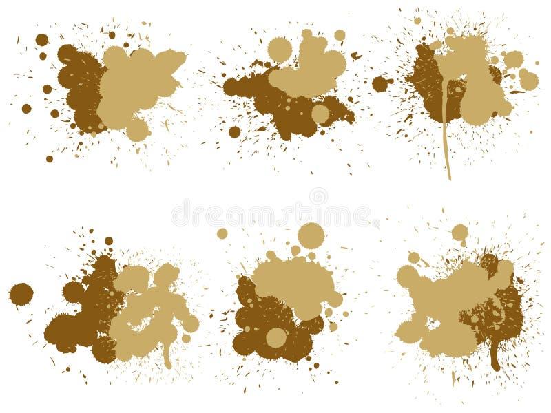 Grungy pintura gota, salpicadura creativa hecha a mano o trazo de chispa conjunto libre illustration