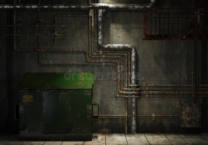 Grungy pipes and dumpster. Grunge interior room of an abandoned industrial warehouse showing a concrete wall with lots of pipes, stairs and a garbage can stock illustration