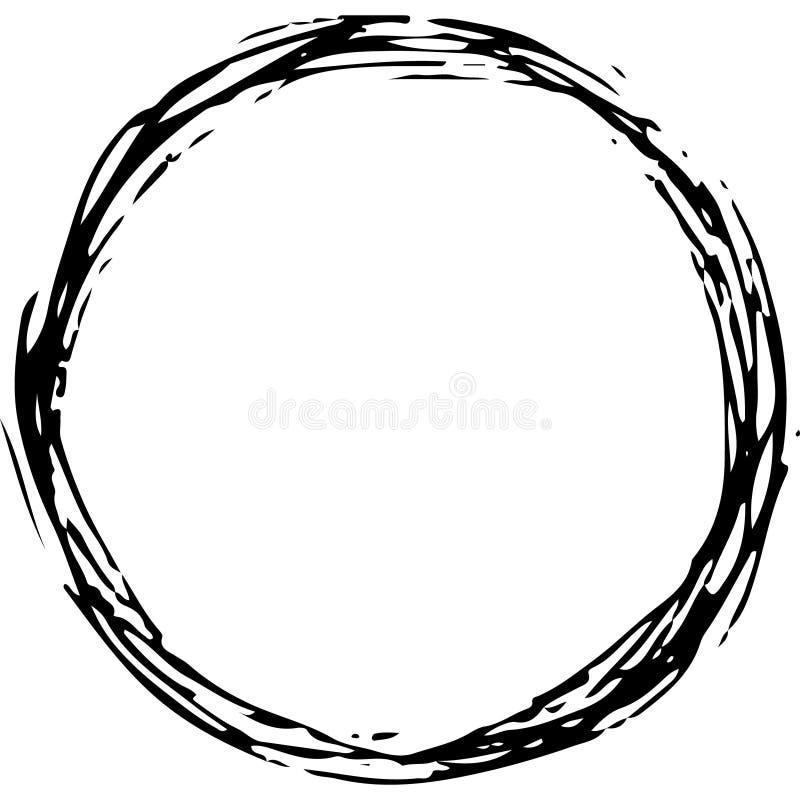 Grungy ręka rysujący round skrobaniny okrąg, może używa jako rama, chaotyczni kołtuniaści lampasy ilustracji