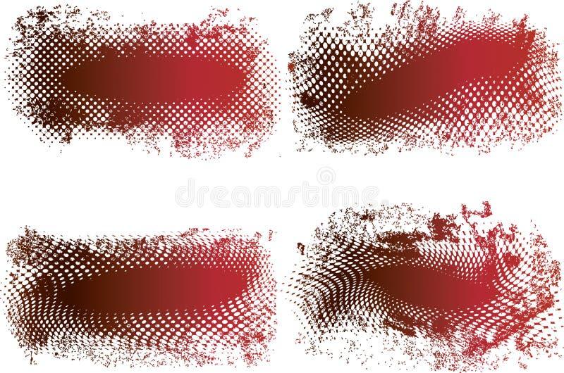grungy rastrerad vektor för baner royaltyfri illustrationer