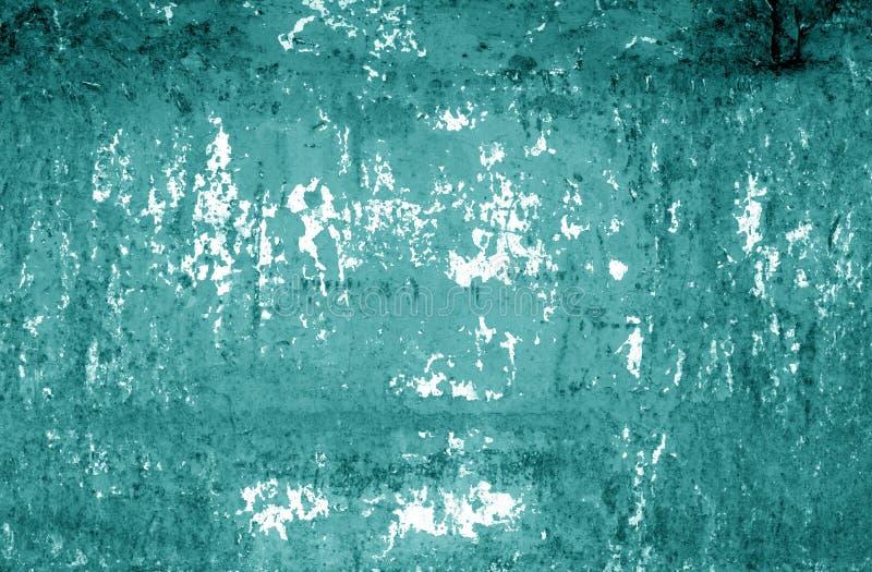 Grungy rdzewiejąca metal ściany tekstura w cyan brzmieniu obrazy stock