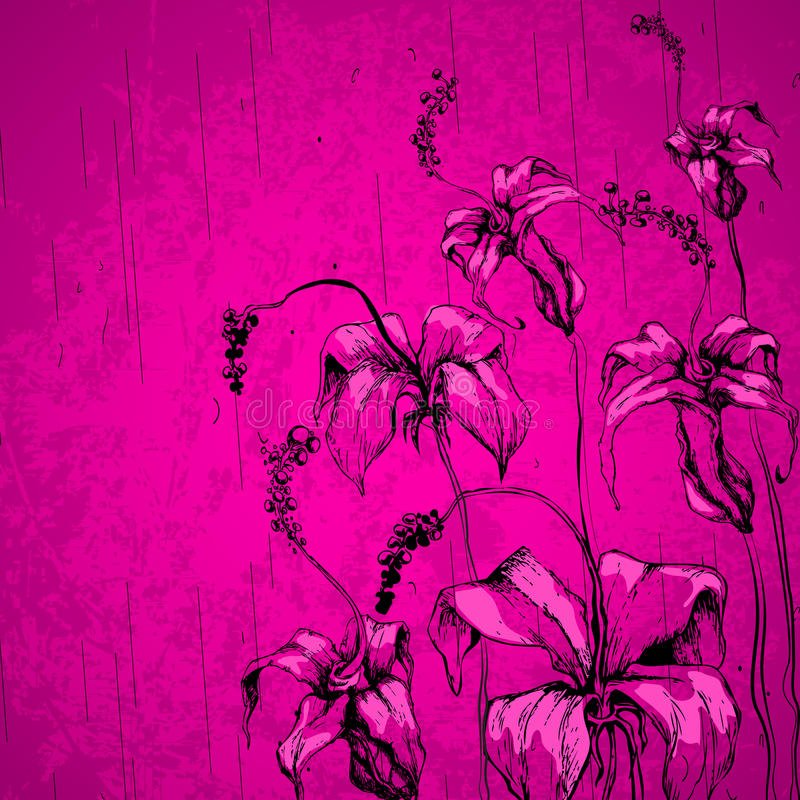 Grungy Retro Flower Stock Photo