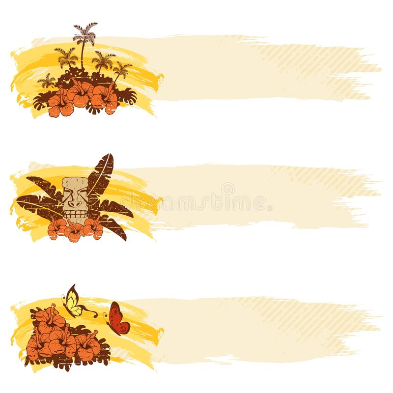 Grungy retro hawaiian banners in warm tones royalty free illustration