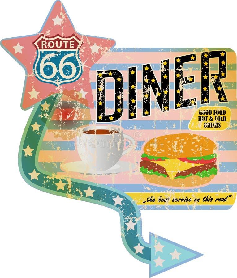 Grungy retro matställetecken för rutt 66, royaltyfri illustrationer