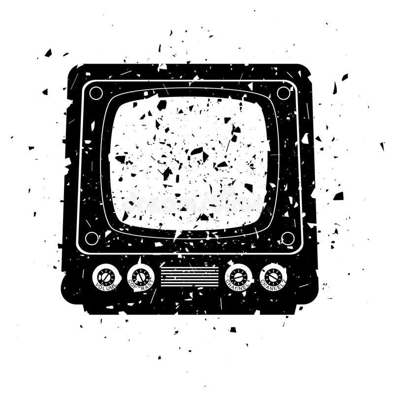 Grungy retro tv set. Vector grungy illustration of retro tv set stock illustration