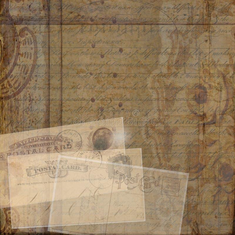 Grungy rocznika efemerydy kolażu pocztówkowy tło zdjęcie stock