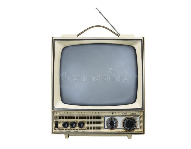 Grungy rocznika przenośna telewizja odizolowywająca z obracającym daleko scre obraz stock