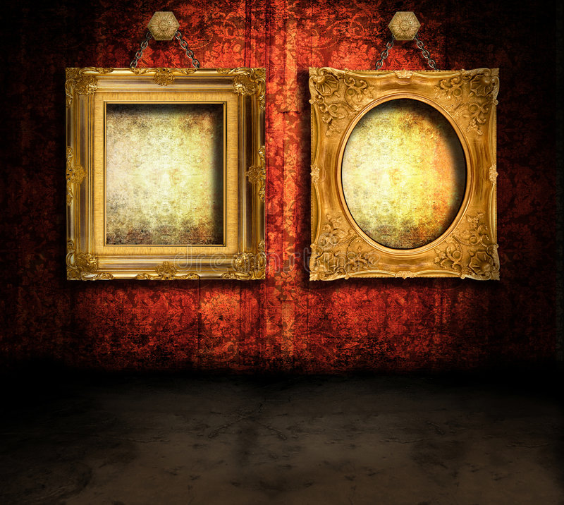 Grungy room with frames stock illustration
