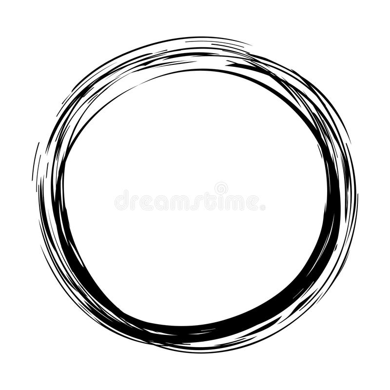 Grungy round ink circle stock illustration