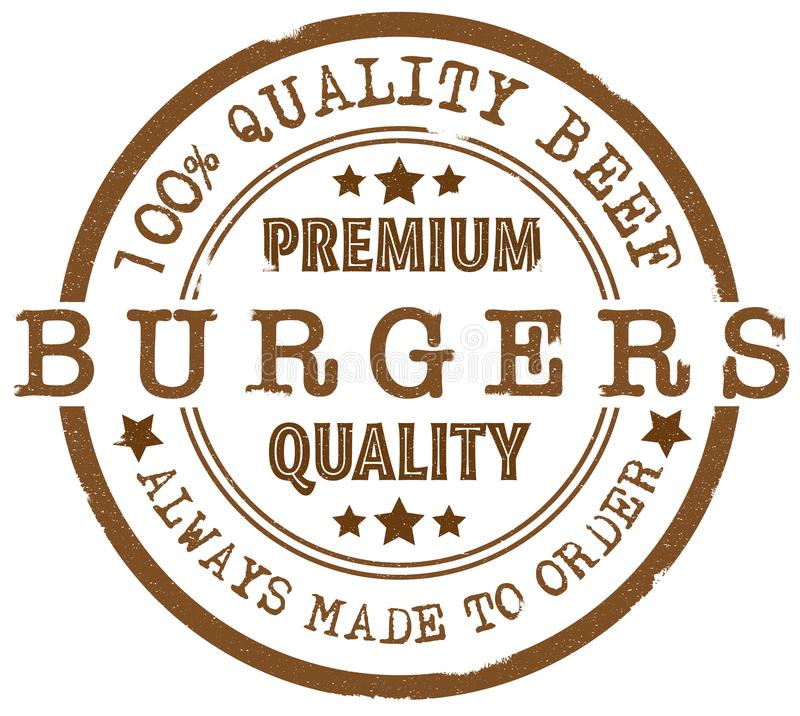 Round premium quality burgers rubber stamp vector illustration
