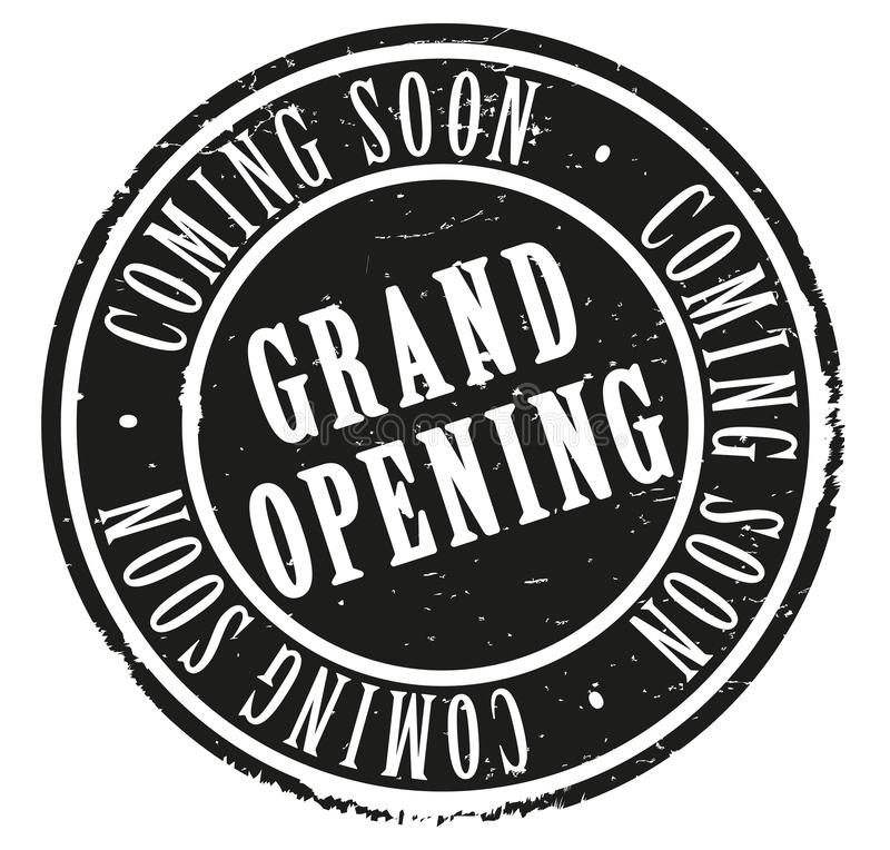 Grungy round rubber stamp with text GRAND OPENING and COMING SOON vector illustration