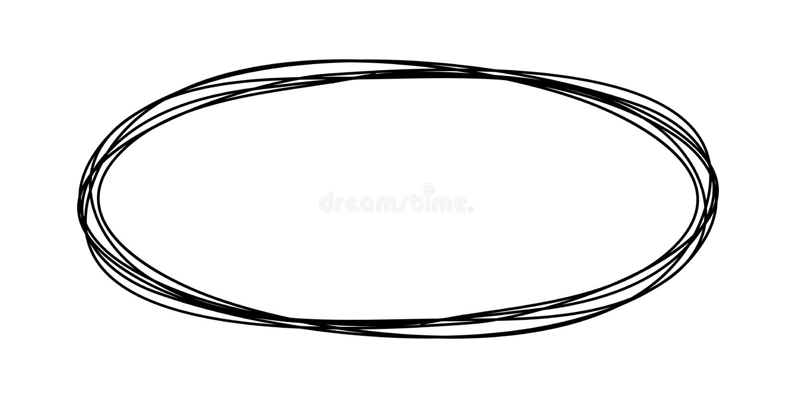 Grungy round scribble oval. Hand drawn with thin line, divider shape. Vector illustration royalty free illustration