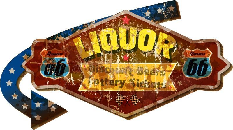 Grungy route 66 liquor store sign. Grungy retro route 66 liquor store advertising sign, vector illustration vector illustration