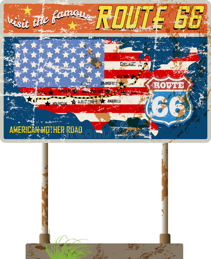 Grungy route 66 road sign,. Grungy route 66 road signgage ,vintage advertsisng sign, retro vector illustration royalty free illustration
