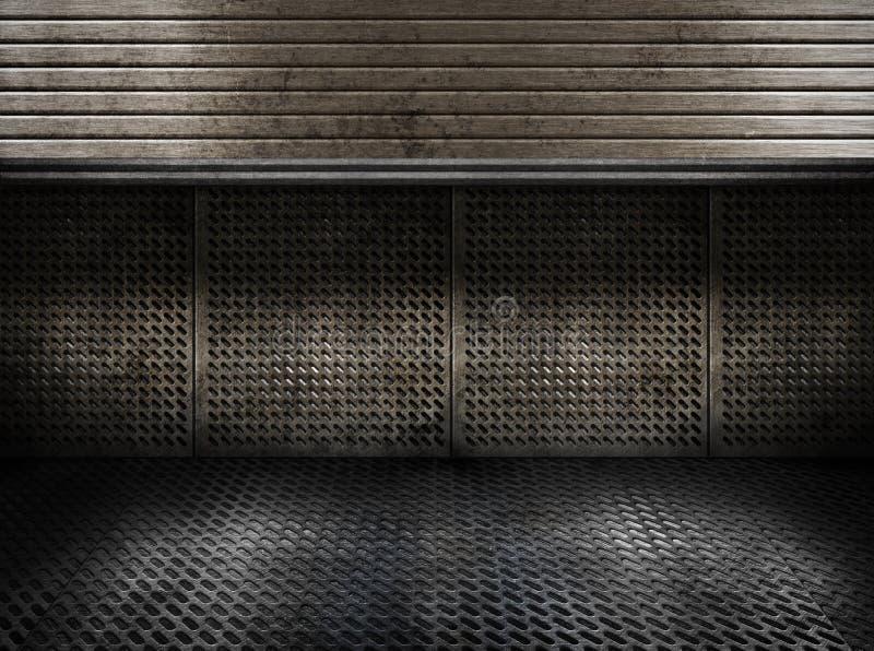 Grungy ruimte van metaal industriële platen met deur royalty-vrije stock afbeelding