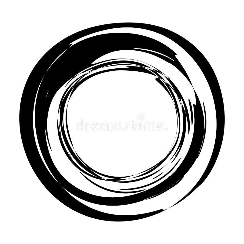 Grungy rund färgpulvercirkel royaltyfri illustrationer