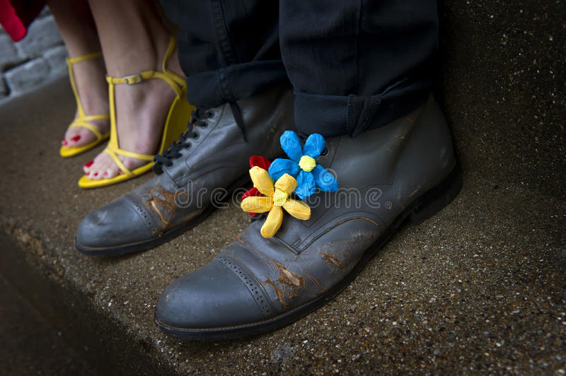 Download Grungy Shoes With Flower Decorations Stock Photo - Image of high, elegance: 24616278