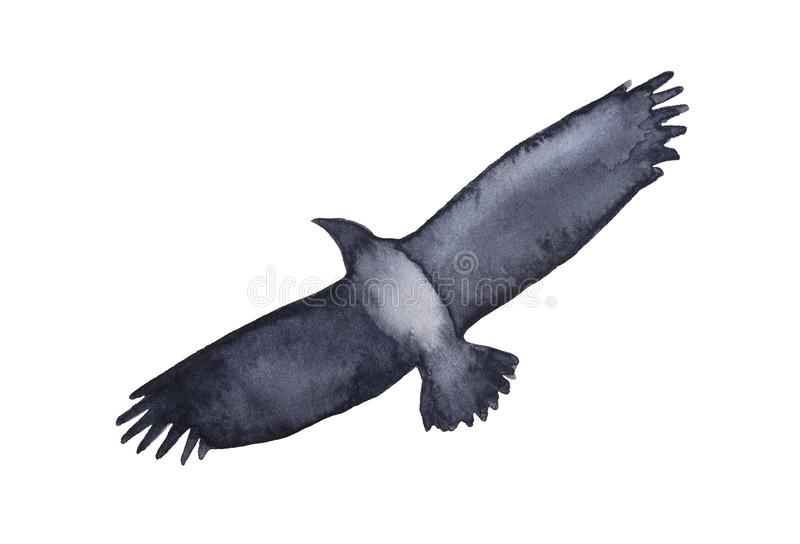 Grungy silhouette of big and wild flying bird. stock illustration