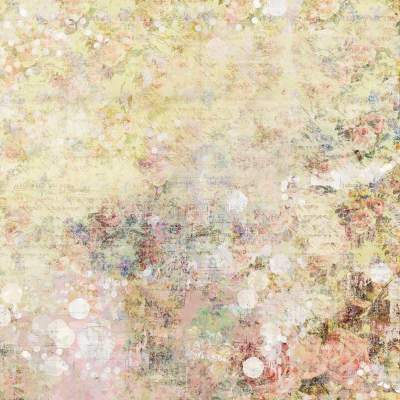 Grungy sjaskig chic konstnärlig abstrakt grafisk bakgrund för bohemisk zigensk blom- antik tappning med rosor arkivfoto
