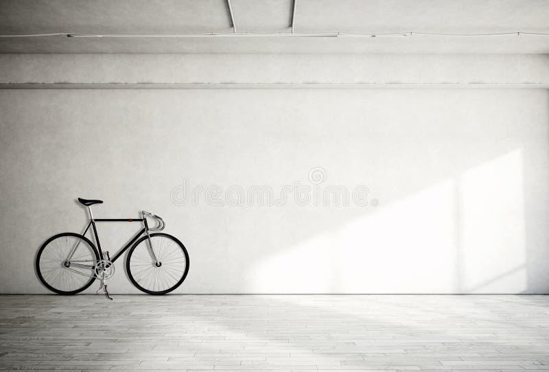 Grungy slät kal betongvägg för horisontalfotomellanrum i modern öppet utrymmestudio med den klassiska cykeln Mjuka solstrålar royaltyfri illustrationer
