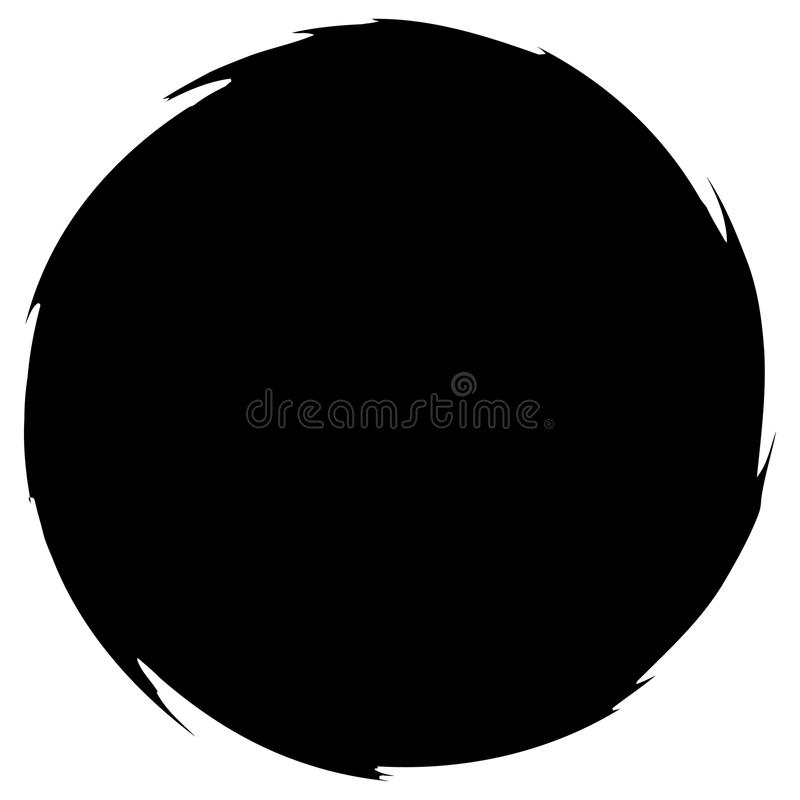 Grungy smeared circle. Abstract splash shape silhouette. Royalty free vector illustration stock illustration
