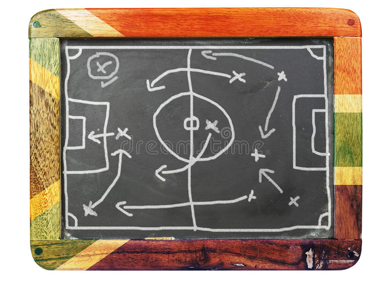A grungy soccer tactic board stock images