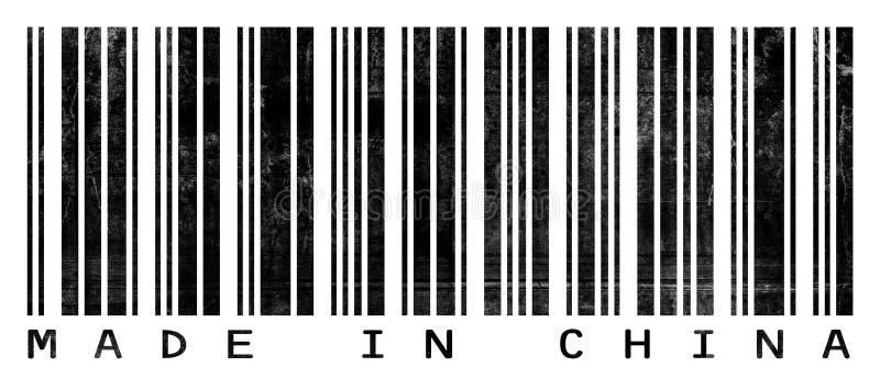Grungy Streepjescode die in China wordt gemaakt royalty-vrije illustratie