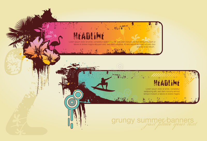 Grungy summer banners vector illustration