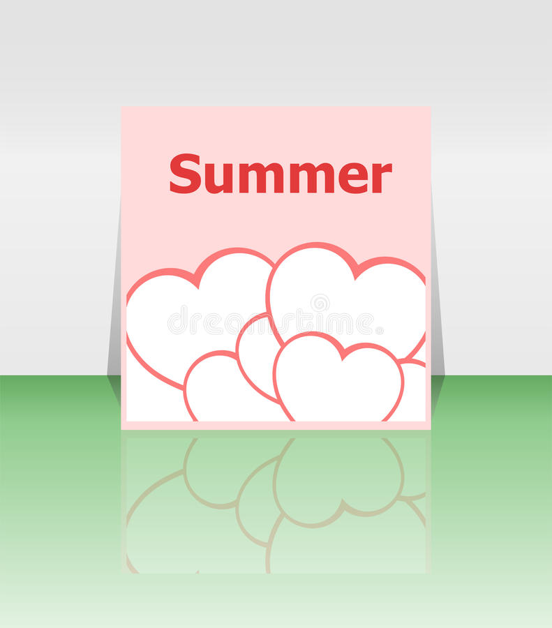 Grungy summer poster with love heart set stock illustration