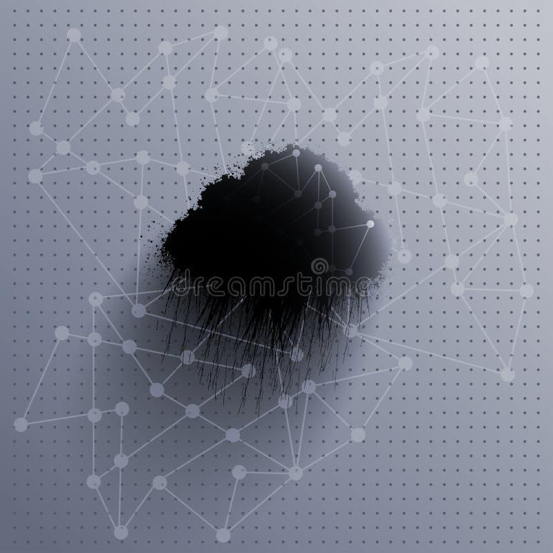 Grungy svart regnigt moln stock illustrationer