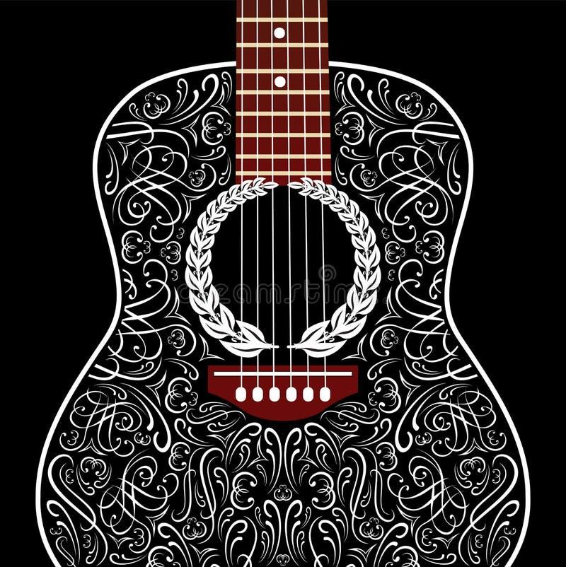 Grungy tło z czarną gitarą akustyczną royalty ilustracja