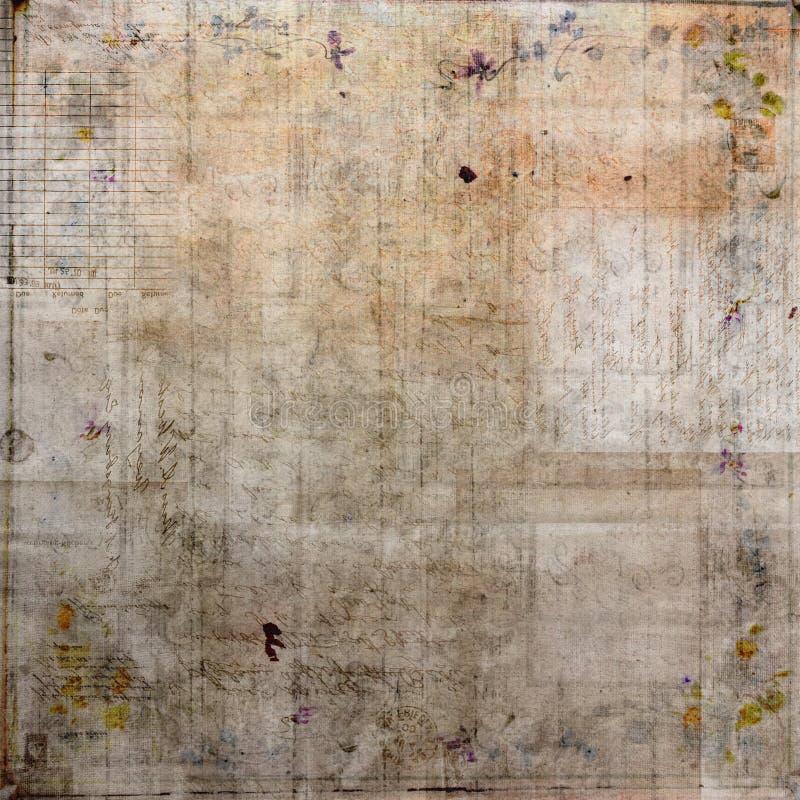 Grungy tappningcollage med bakgrund för textbruntmörker vektor illustrationer