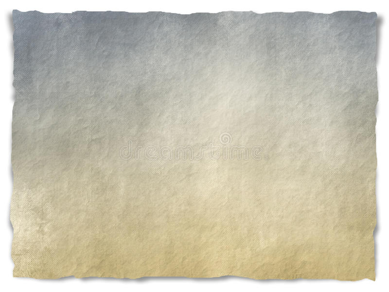 Grungy torn paper. Torn old paper with frayed edges and shadow over white background - grunge design - beige, grey and blue colored royalty free stock image