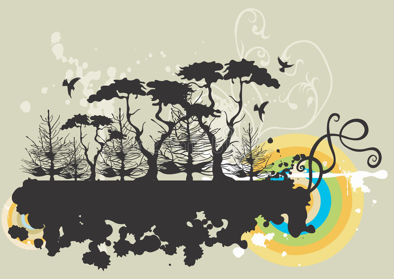 Download Grungy trees stock vector. Image of bird, design, grunge - 1642587