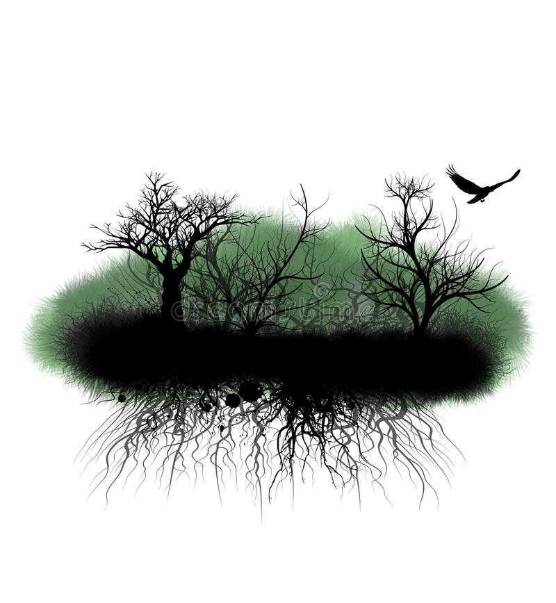 Grungy Trees and Roots stock illustration