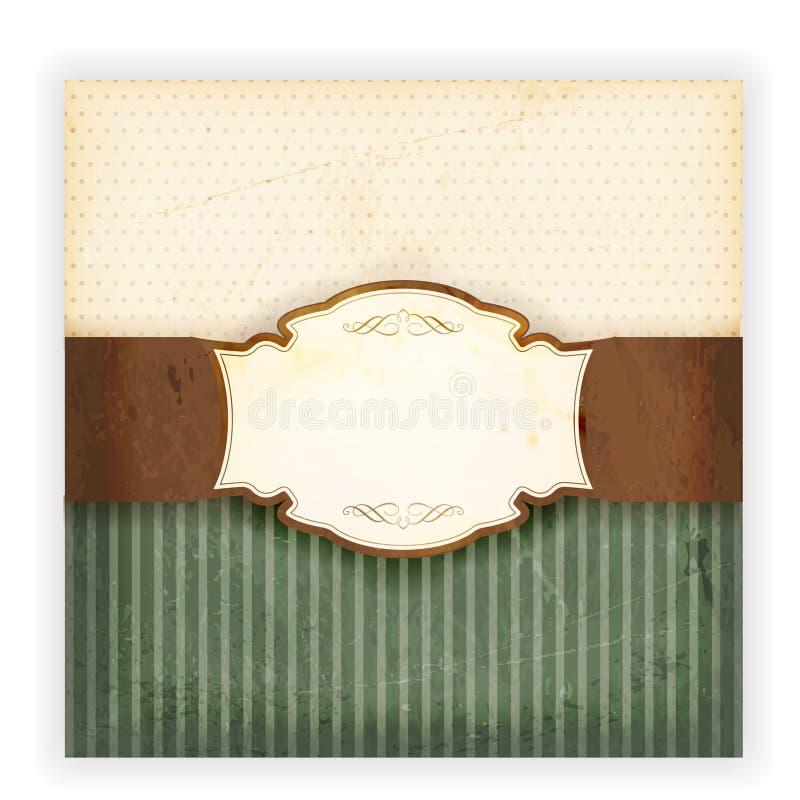 Grungy uitnodigingskaart met etiket vector illustratie