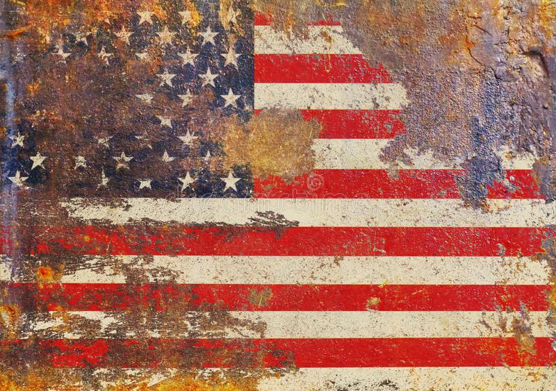 Grungy USA flag, stars and stripes, distressed and rough. Grungy USA flag on rusty metal, rough stars and stripes, distressed and dirty royalty free stock photos