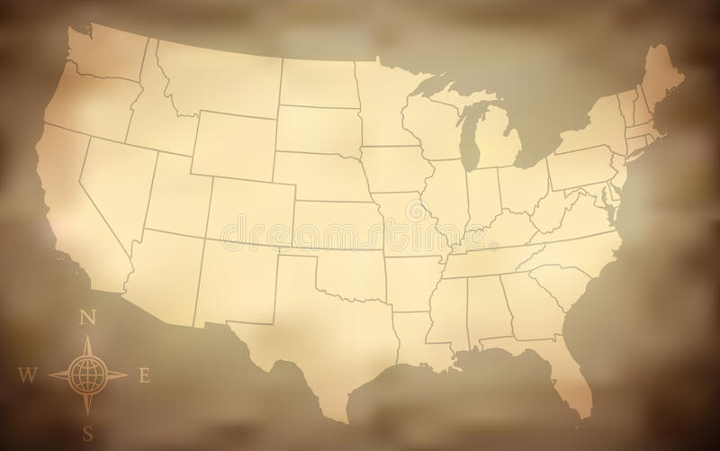 Grungy USA Map stock illustration