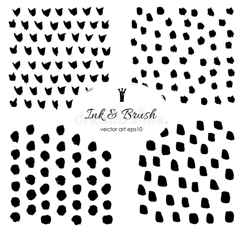Grungy vector brush strokes, dots Set. royalty free illustration