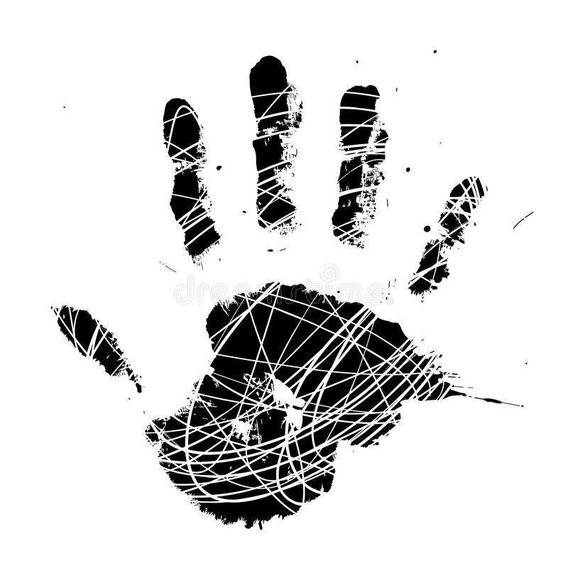 Grungy Vector Hand-Print royalty free illustration