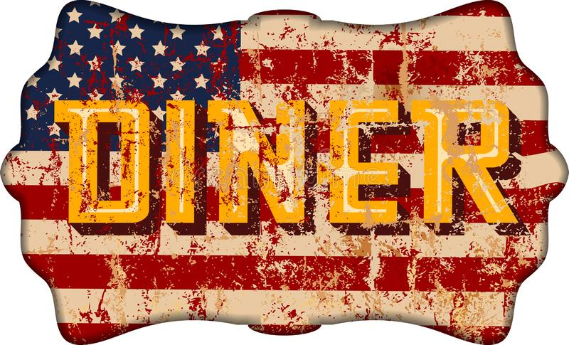 Grungy vintage american diner sign, retro style, vector illustration stock images
