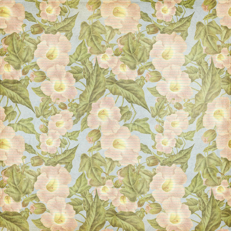Grungy vintage Antique Pink Flower Pattern vector illustration