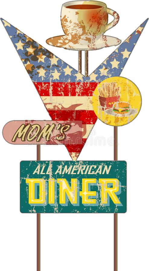 Grungy vintage diner sign, retro style, vector illustration royalty free stock photography