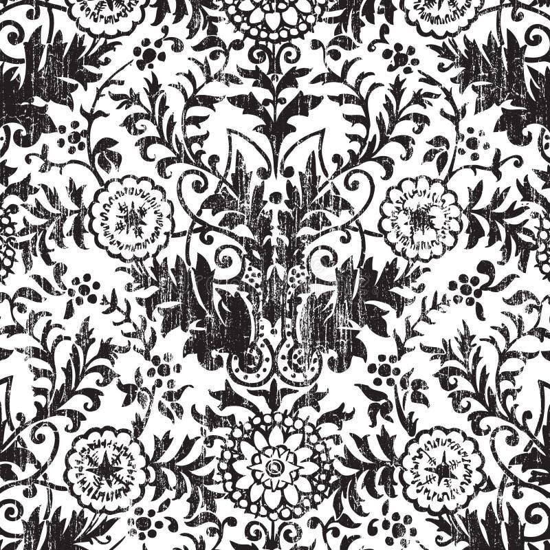 Grungy vintage floral damask scrapbook background. Illustration stock illustration
