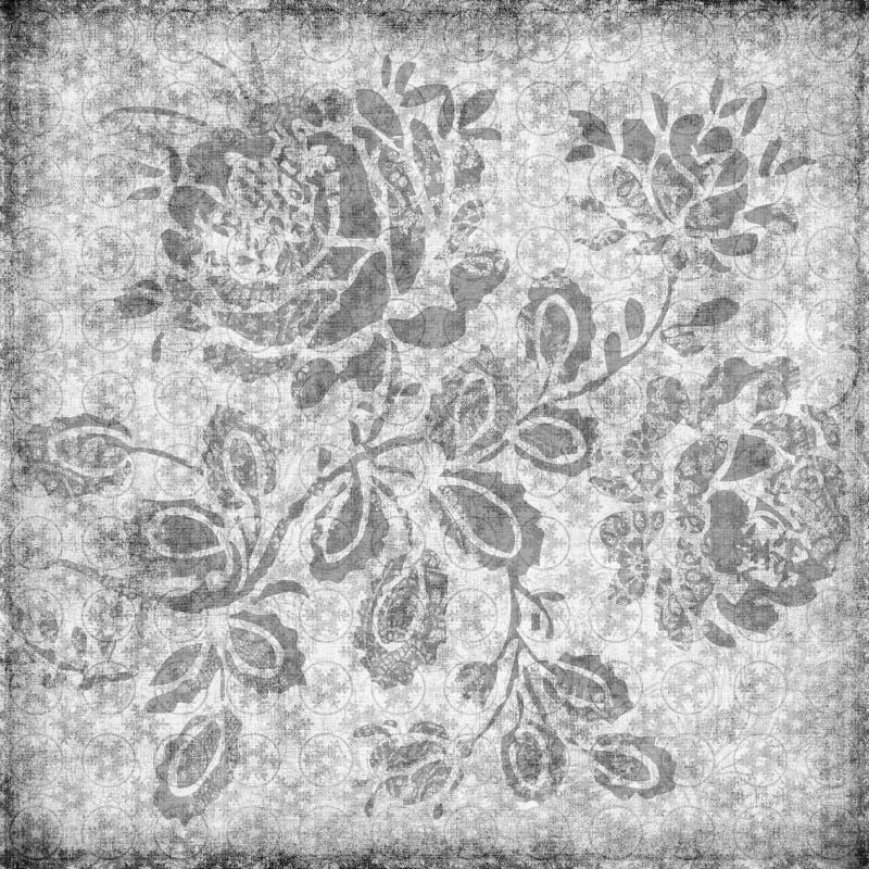 Grungy vintage floral damask scrapbook background. Illustration vector illustration