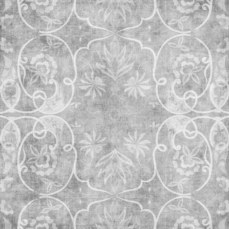 Grungy vintage floral damask scrapbook background. Illustration royalty free illustration