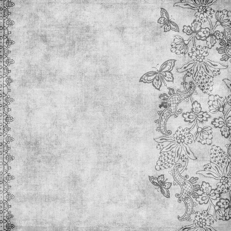 Grungy vintage flowers and butterflies background royalty free illustration