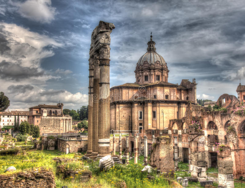 Download Grungy Vintage Picture Of Trajan's Forum In Rome Stock Illustration - Image: 31966292