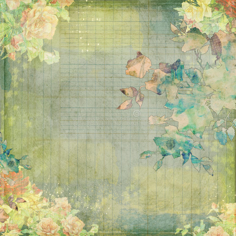 Grungy vintage shabby floral design. With watercolor flowers and ledger paper royalty free stock photos