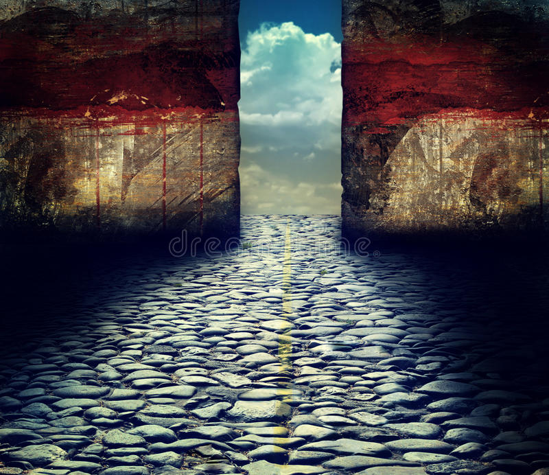 Grungy wall with beautiful landscape behind royalty free illustration